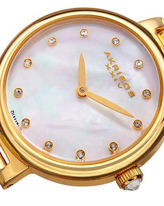 Akribos XXIV AK877YG Brand New Japan Quartz Watch with 0.06ctw of Precious Stones - diamond and mother of pearl