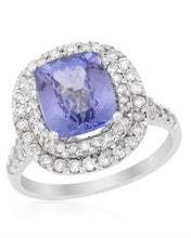Load image into Gallery viewer, Brand New Ring with 4.03ctw of Precious Stones - diamond and tanzanite 14K White gold