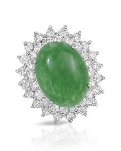 Lundstrom Brand New Ring with 9.77ctw of Precious Stones - diamond and jade 14K White gold