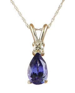 1.95 Carat Tanzanite 14K White Gold Diamond Necklace