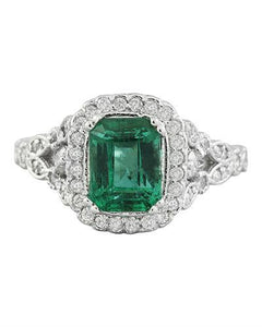 2.64 Carat Emerald 14K white Gold Diamond Ring