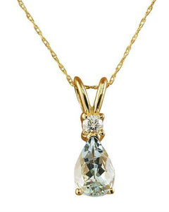 1.60 Carat Aquamarine 14K Yellow Gold Diamond Necklace