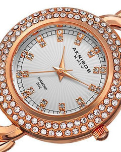Akribos XXIV AK804RG Brand New Quartz Watch with 0.12ctw of Precious Stones - crystal and diamond