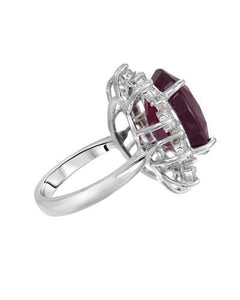 Lundstrom Brand New Ring with 16.77ctw of Precious Stones - diamond and ruby 14K White gold