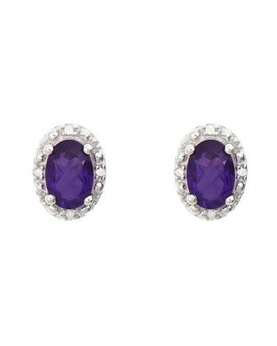 Brand New Earring with 0.92ctw of Precious Stones - amethyst and diamond 925 Silver sterling silver