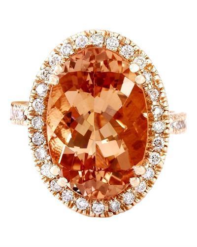 9.81 Carat Natural Morganite 14K Solid Rose Gold Diamond Ring