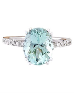 4.32 Carat Natural Aquamarine 14K Solid White Gold Diamond Ring