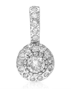 Brand New Pendant with 0.5ctw of Precious Stones - diamond and diamond 14K White gold