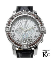 Load image into Gallery viewer, Techno Com WKHL Brand New Quartz date Watch with 3.25ctw of Precious Stones - crystal, diamond, diamond, and mother of pearl