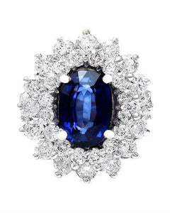 4.16 Carat Natural Sapphire 14K Solid White Gold Diamond Ring