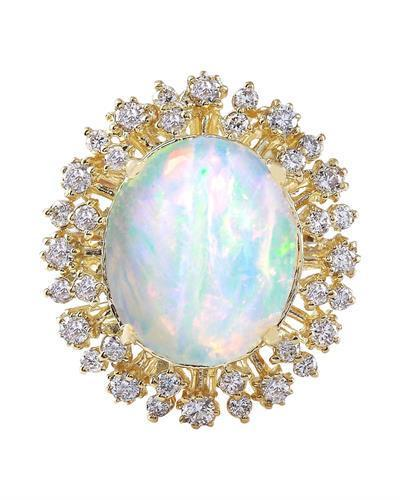 8.75 Carat Natural Opal 14K Solid Yellow Gold Diamond Ring