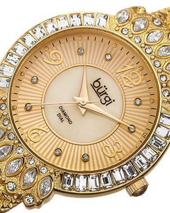 burgi BUR120YG Brand New Quartz Watch with 0.04ctw of Precious Stones - crystal, diamond, and mother of pearl
