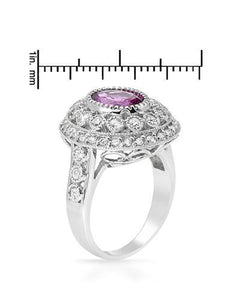 Brand New Ring with 4.17ctw of Precious Stones - diamond and sapphire 14K White gold