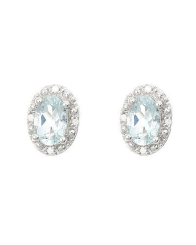 Brand New Earring with 0.82ctw of Precious Stones - aquamarine and diamond 925 Silver sterling silver