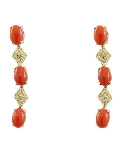 2.65 Carat Coral 14K Yellow Gold Diamond Earrings