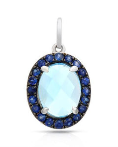 Brand New Pendant with 2.47ctw of Precious Stones - sapphire and topaz 14K White gold