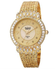 Load image into Gallery viewer, burgi BUR120YG Brand New Quartz Watch with 0.04ctw of Precious Stones - crystal, diamond, and mother of pearl