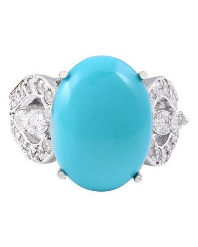 8.75 Carat Natural Turquoise 14K Solid White Gold Diamond Ring