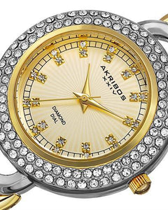 Akribos XXIV AK804TTG Brand New Quartz Watch with 0.12ctw of Precious Stones - crystal and diamond