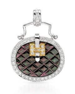 Brand New Pendant with 0.5ctw of Precious Stones - diamond and mother of pearl 18K Two tone gold
