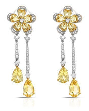 Load image into Gallery viewer, Brand New Earring with 9.95ctw of Precious Stones - beryl and diamond 18K Two tone gold