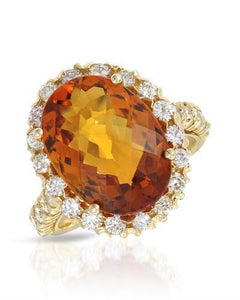 Julius Rappoport Brand New Ring with 8.63ctw of Precious Stones - citrine and diamond 14K Yellow gold