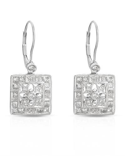 Brand New Earring with 1.37ctw of Precious Stones - diamond and diamond 14K White gold