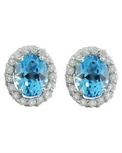 4.86 Carat Topaz 14K White Gold Diamond Earrings