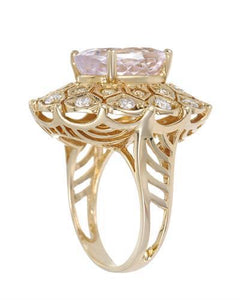 Lundstrom Brand New Ring with 9.83ctw of Precious Stones - diamond, diamond, and kunzite 14K Yellow gold