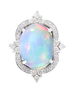 6.26 Carat Natural Opal 14K Solid White Gold Diamond Ring