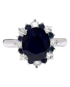 5.65 Carat Natural Sapphire 14K Solid White Gold Diamond Ring