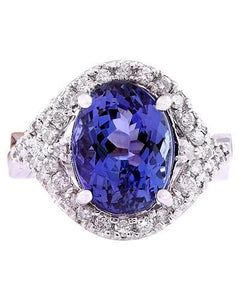 5.82 Carat Natural Tanzanite 14K Solid White Gold Diamond Ring