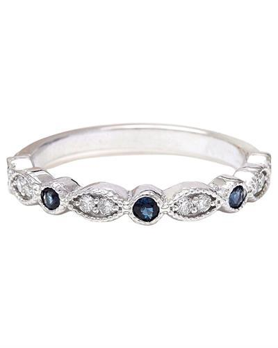 0.20 Carat Natural Sapphire 14K Solid White Gold Diamond Ring