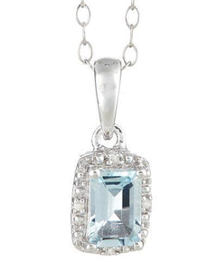 Brand New Necklace with 0.51ctw of Precious Stones - aquamarine and diamond 925 Silver sterling silver