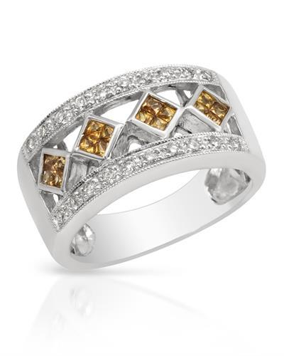 Brand New Ring with 0.65ctw of Precious Stones - diamond and sapphire 14K White gold