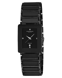 Akribos XXIV AK521BLK Brand New Japan Quartz date Watch with 0.2ctw diamond