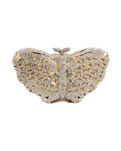 LuxMob Butterfly Brand New Clutch with 0ctw crystal  Yellow base metal