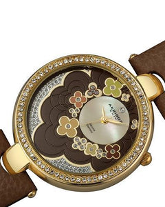 Akribos XXIV AK601 Brand New Swiss Quartz Watch with 0.01ctw of Precious Stones - crystal, diamond, and mother of pearl