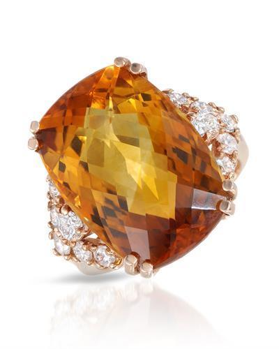 Julius Rappoport Brand New Ring with 17.24ctw of Precious Stones - citrine and diamond 14K Rose gold