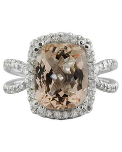 4.93 Carat Morganite 14K White Gold Diamond Ring