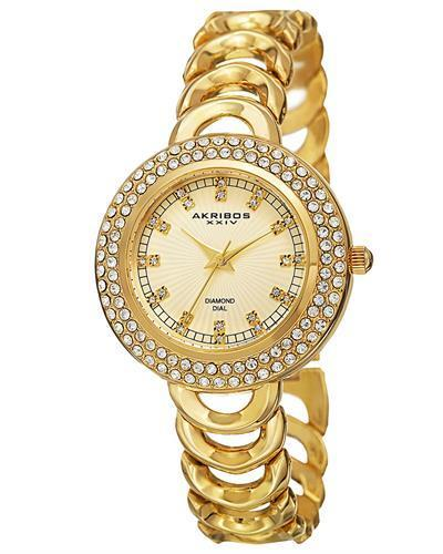 Akribos XXIV AK804YG Brand New Quartz Watch with 0.12ctw of Precious Stones - crystal and diamond
