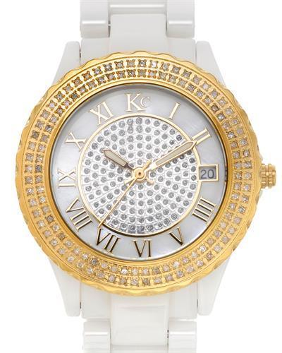 KC WA005296 Brand New Quartz date Watch with 0.5ctw of Precious Stones - diamond and mother of pearl