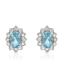 Brand New Earring with 1.25ctw of Precious Stones - topaz and topaz 925 Silver sterling silver