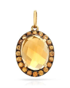 Brand New Pendant with 2.58ctw of Precious Stones - citrine and sapphire 14K Yellow gold