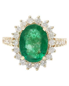 4.23 Carat Natural Emerald 14K Solid Yellow Gold Diamond Ring