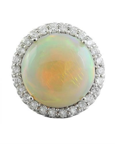 15.40 Carat Opal 14K White Gold Diamond Ring