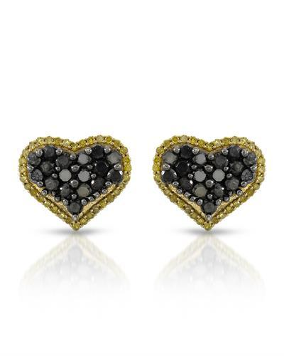 Brand New Earring with 0.99ctw of Precious Stones - diamond and diamond 10K Yellow gold