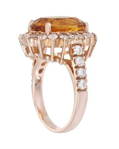 Lundstrom Brand New Ring with 6.71ctw of Precious Stones - citrine and diamond 14K Rose gold