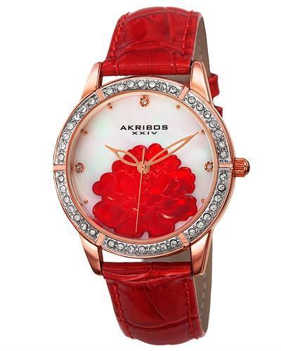 Akribos XXIV AK805RD Brand New Japan Quartz Watch with 0ctw of Precious Stones - crystal and mother of pearl