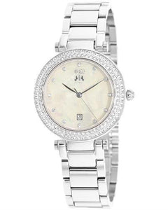 Jivago JV5313 Parure Brand New Quartz date Watch with 0ctw of Precious Stones - crystal and mother of pearl